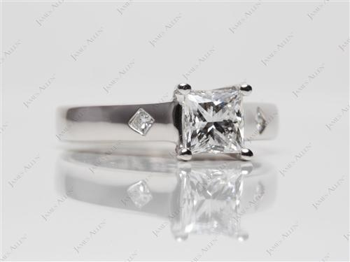 White Gold 0.90 Princess cut Solitaire Ring Setting