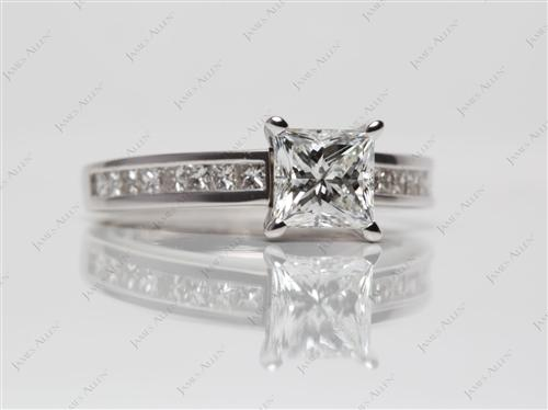 White Gold 1.10 Princess cut Channel Set Rings