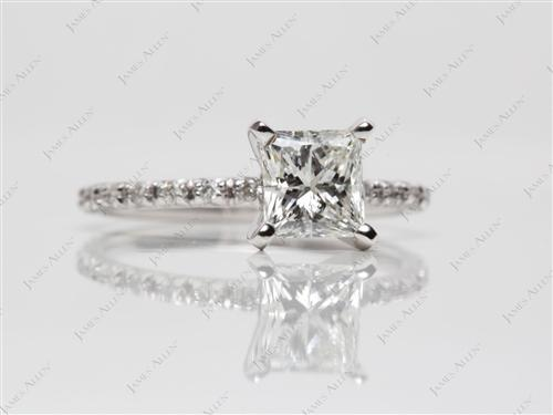 White Gold 1.02 Princess cut Wedding Ring Sets