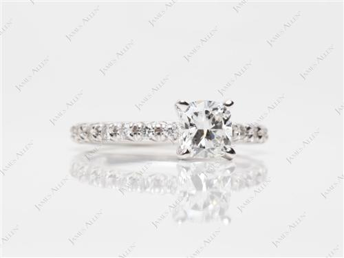 White Gold 0.80 Cushion cut Pave Diamond Rings