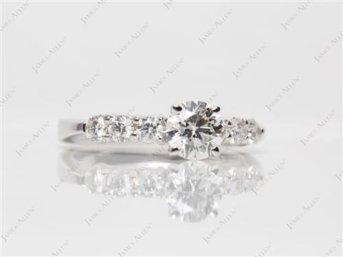 White Gold 0.71 Round cut Engagement Rings With Side Stones