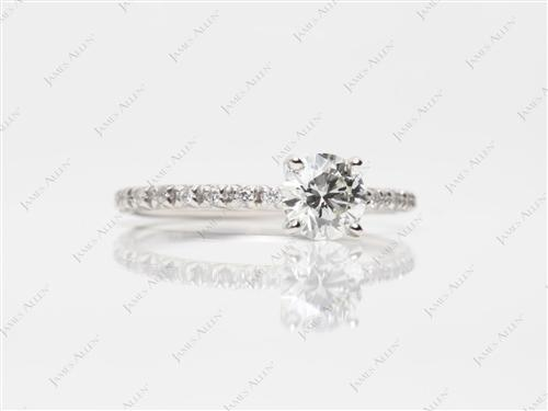 Platinum 0.70 Round cut Diamond Pave Rings