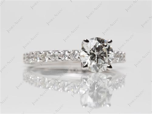 White Gold 0.91 Round cut Sidestone Engagement Ring