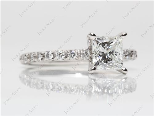 Platinum 1.21 Princess cut Diamond Pave Rings