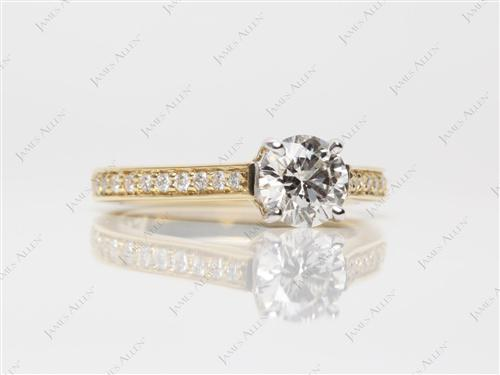 Gold 0.74 Round cut Engagement Rings Pave
