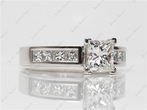 Platinum 1.09 Princess cut Channel Engagement Ring