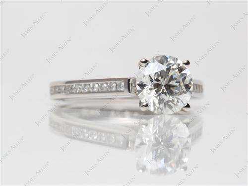 Platinum 1.53 Round cut Channel Cut Ring
