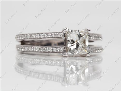 White Gold 1.01 Princess cut Pave Engagement Ring