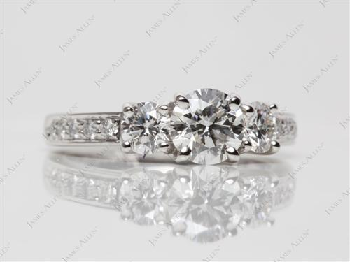 Platinum 0.83 Round cut Diamond Ring With Side Stones