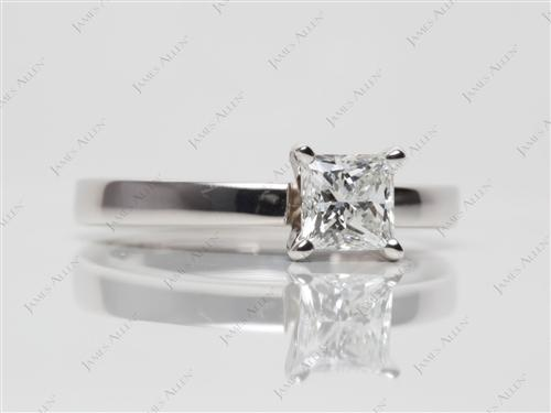 White Gold 0.70 Princess cut Engagement Rings