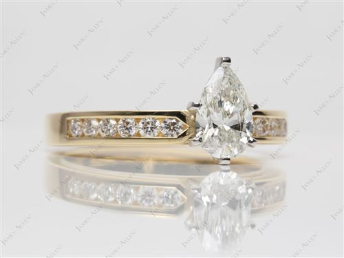 Gold 1.20 Pear shaped Channel Setting Engagement Ring