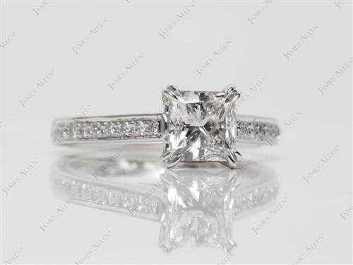 Platinum 1.01 Princess cut Pave Ring Mountings