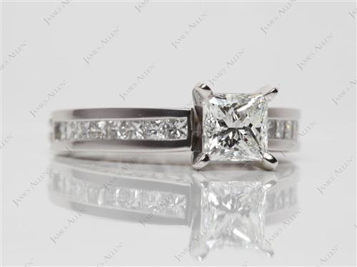 Platinum 0.90 Princess cut Platinum Wedding Sets