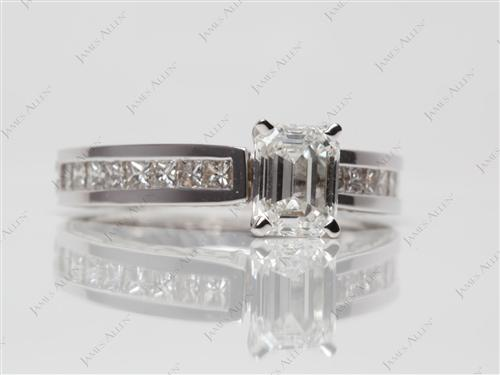 White Gold 1.01 Emerald cut Bridal Set Wedding Rings
