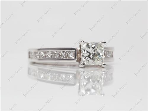 White Gold 0.70 Princess cut Channel Engagement Rings