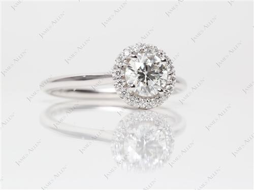 White Gold 0.76 Round cut Pave Ring Settings