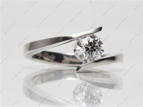 Platinum 0.93 Round cut Engagement Rings