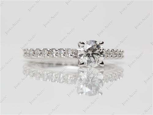White Gold 0.47 Round cut Princess Cut Engagement Rings With Side Stones