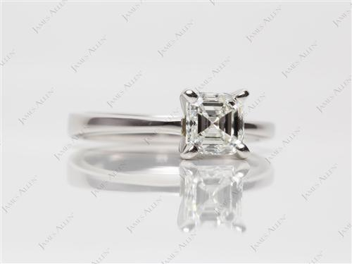 Platinum 1.05 Asscher cut Solitaire Ring