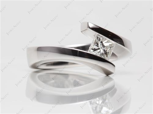 White Gold 0.71 Princess cut Tension Diamond Engagement ring