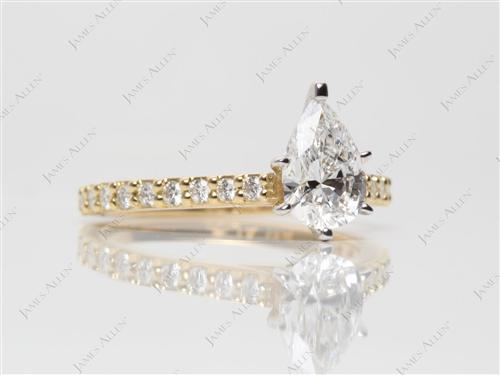 Gold 0.85 Pear shaped Sidestone Engagement Ring