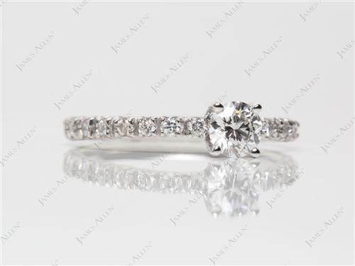 Platinum 0.40 Round cut Pave Diamond Engagement Rings