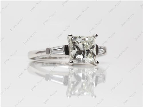 Platinum 2.01 Princess cut Diamond Ring With Side Stones