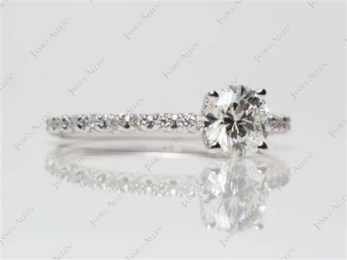 White Gold 0.70 Round cut Pave Diamond Rings