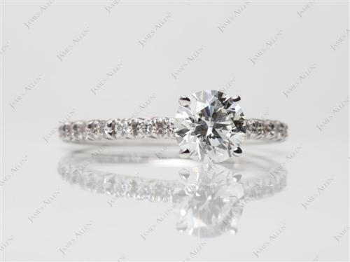 White Gold 1.08 Round cut Diamond Ring