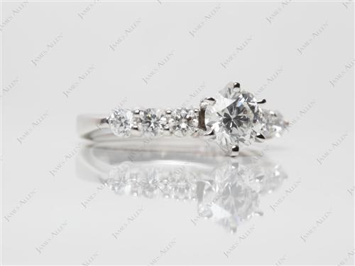 White Gold 0.71 Round cut Diamond Ring With Side Stones