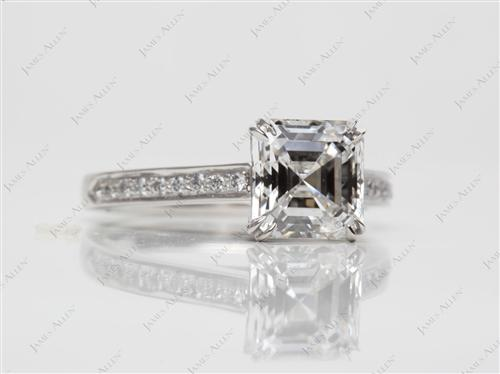 Platinum 2.08 Asscher cut Pave Rings