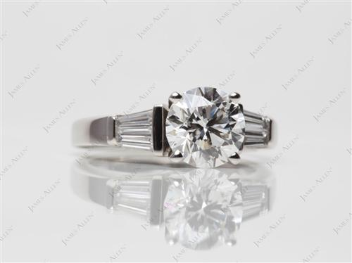 Platinum 1.51 Round cut Engagement Ring Side Stones