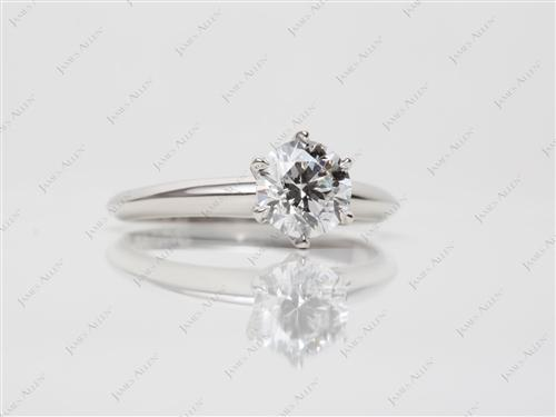 Platinum 0.90 Round cut Solitaire Engagement Ring