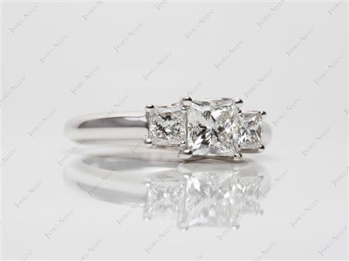 White Gold 0.90 Princess cut Three Stones Settings