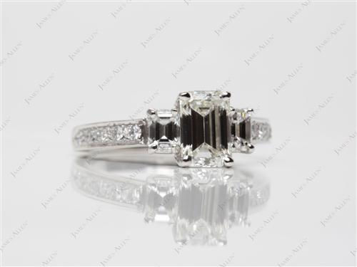 Platinum 1.13 Emerald cut Diamond Rings With Side Stones
