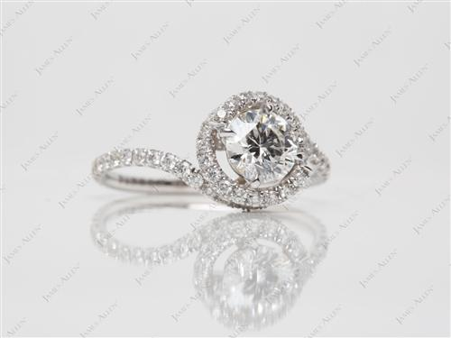 White Gold 0.73 Round cut Micropave Engagement Rings