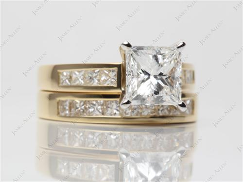 Gold 2.01 Princess cut Bridal Wedding Ring Sets
