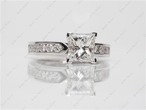 White Gold 1.58 Princess cut Channel Rings