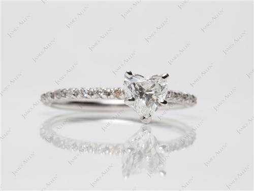 White Gold 0.70 Heart shaped Diamond Ring
