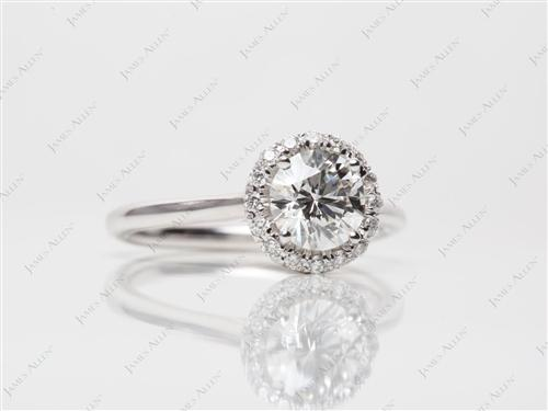 White Gold 0.91 Round cut Pave Ring Mountings