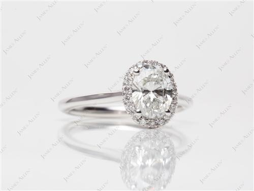 White Gold 1.00 Oval cut Engagement Rings
