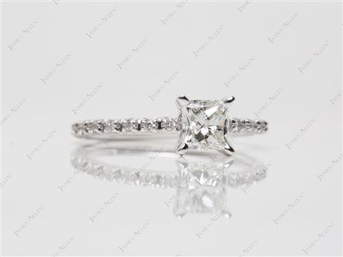 White Gold 0.60 Princess cut Gold Wedding Ring Sets