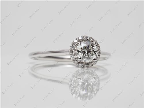 White Gold 0.52 Round cut Pave Diamond Engagement Rings