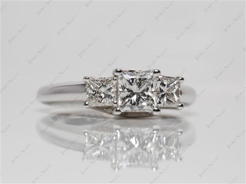 White Gold  Three Stones Diamonds Rings