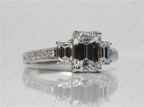 Platinum 2.06 Emerald cut Engagement Rings With Side Stones