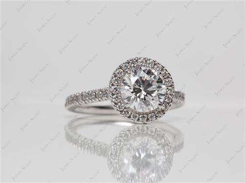 White Gold 1.13 Round cut Engagement Ring