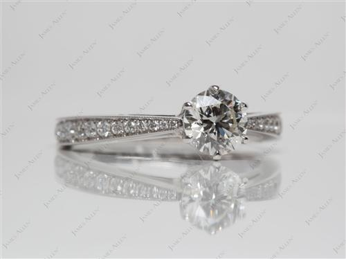 White Gold 0.75 Round cut Pave Diamond Engagement Rings