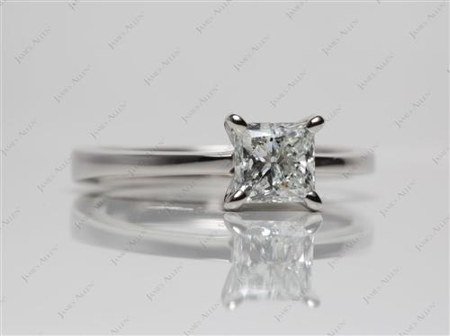 Platinum 1.01 Princess cut Diamond Solitaire Engagement Ring