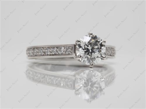 Platinum 1.19 Round cut Micro Pave Engagement Rings