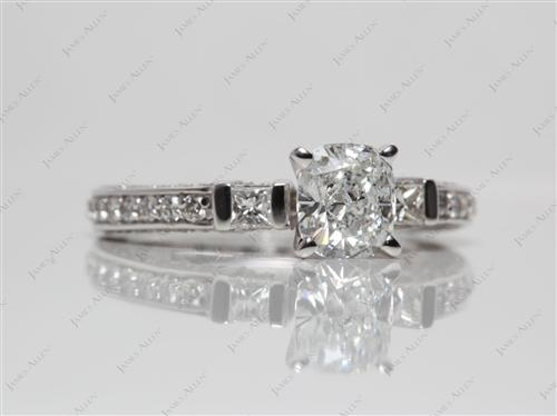 White Gold 1.01 Cushion cut Pave Diamond Rings